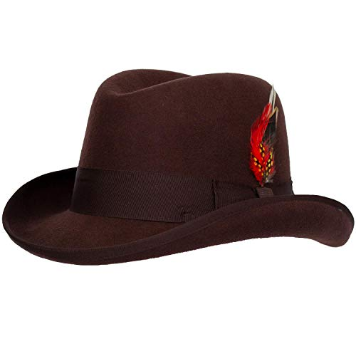 Levine Hat 9th Street Charles Firm Felt Homburg Godfather Hat 100% Wool (Large (fits 7 1/4 to 7 3/8), Brown)