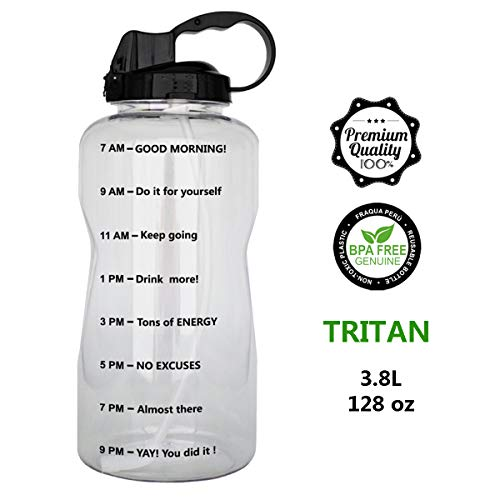 QuiFit 128oz Portable Drinking Straw Daily Water Bottle Sport Water Jug Gallon BPA Free Non Leak Design with Time Marked to Ensure You Drink Enough of Water Throughout The Day(Black)
