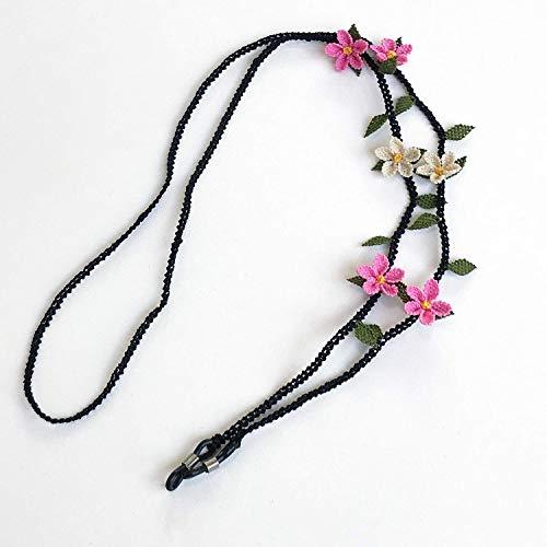 Handmade Needle Lace Pink Flower Shape Glasses Chain, Eyeglass Strap ()