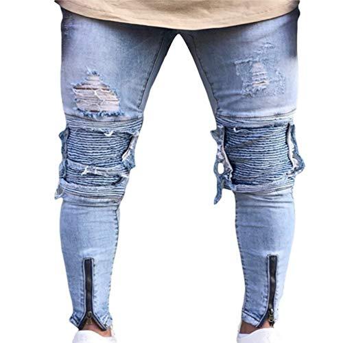 Hx Fashion Jeans Da Uomo Lavati Con Stropicciatura Color Ruggine Taglie Comode Decorazione Chiusura Dritta Pantaloni In Denim Casual Fori Strappati A Matita Stretch Abiti 1847