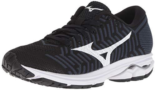 Mizuno Women's Wave Rider 22 Knit Running Shoe, Black-Ombre Blue, 8 B US