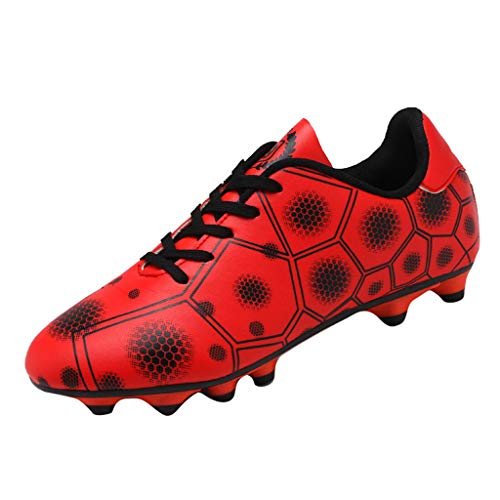 RAINED-Mens Football Shoes Boots Cleats Soccer Boys Football Shoes Indoor Futsal Training Soccer Non-Slip Sports Shoes Red ()
