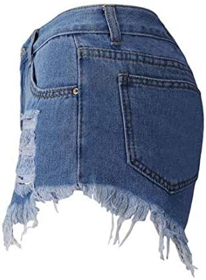 46e3562d6c9f Abetteric Women's Hole Fashion Slim Fray Hem Hot Pants Shorts Jeans Dark  Blue XXS