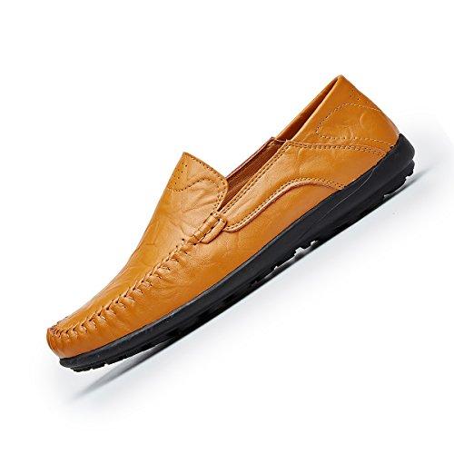 Shinysky Mens Premium Äkta Läder Tillfällig Halka På Loafers Andas Drivande Skor Mode Toffel Y Brown1587