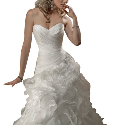 BRIDE Weiß Brautkleider Organza Kapelle Hochzeitskleider Satin GEORGE Tiered ueber Zug Fnd7g