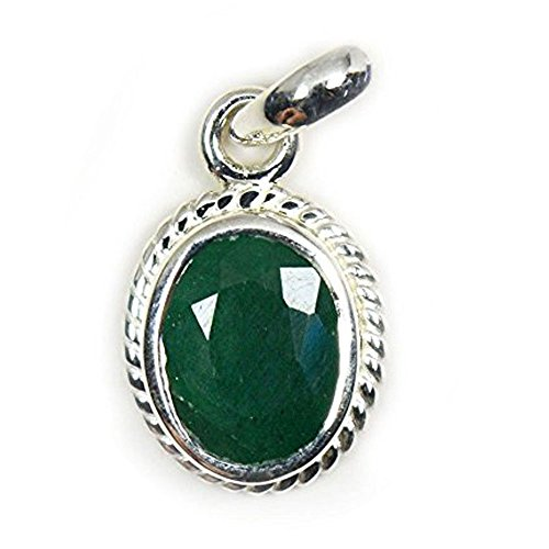 55Carat Natural Genuine Emerald Pendant 7 Carat Oval in 92.5 Sterling Silver
