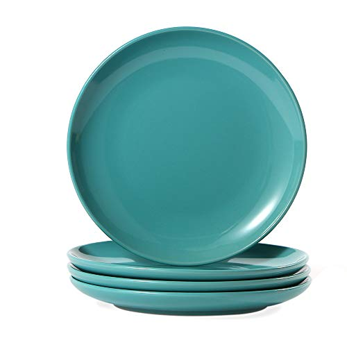 CeramicHome Porcelain Dinner Plate(10.5-Inch, 4-Piece), Stoneware Teal Blue Dinner Plates Set for 4 ()