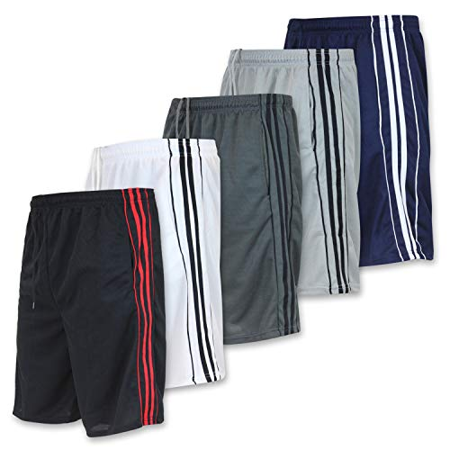 Real Essentials 5 Pack: Big Boys Youth Clothing Mesh Active Athletic Performance Basketball Soccer Tennis Exercise Training Summer Gym Shorts -Set 3- M (8/10)