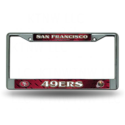 Rico Industries Officially Licensed NFL Team Jersey Insert Chrome License Plate Frame - San Francisco 49ers