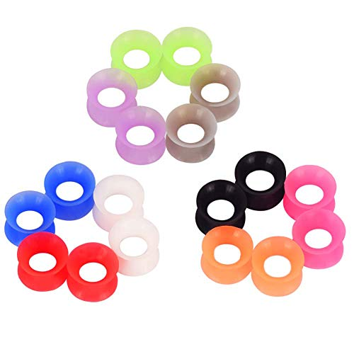 Longbeauty 9 Pair Thin Silicone Ear Skin Flexible Flesh Double Flared Ear Tunnels Expander Plugs Stretcher 9 Colors-6mm ()