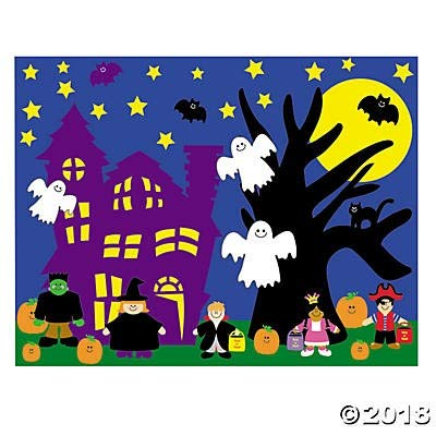 24 Halloween Sticker Scenes~Classroom/Teacher Supplies~Party Supplies and Activities~Pumpkin~Ghost~Witch