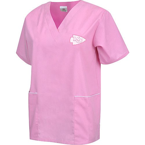 NFL League Logo Kansas City Chiefs Women's Solid Scrub Top, Pink, Medium (Kc Chiefs Halloween)