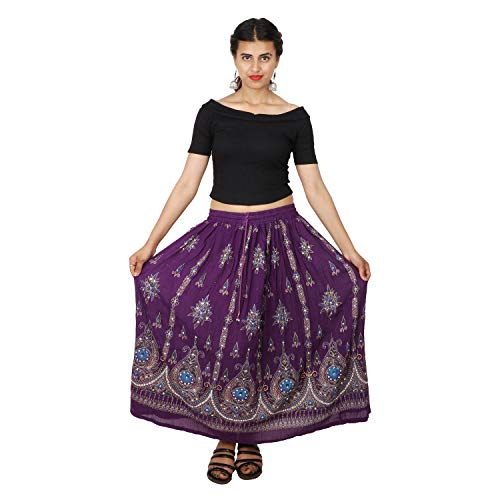 Belly Dance Skirt,Indian Long Partywear Skirt wd Sequin (Purple)