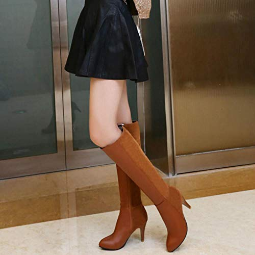 Women Heels RAZAMAZA Fashion Brown Zipper Knee Boots qCCaExdU