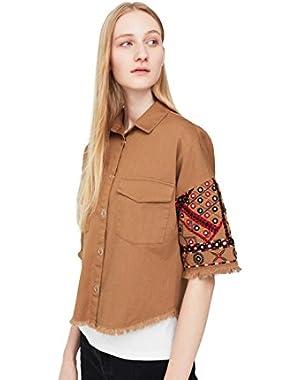 Mango Women's Embroidered Cotton Shirt