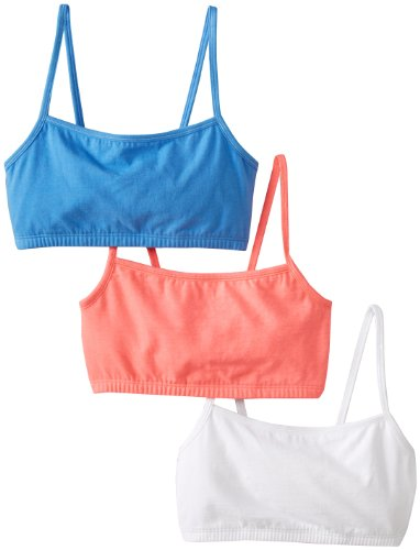 Loom Pack (Fruit of the Loom Women'sCotton Pullover Sportsbra, Punchy Peach/White/Wave Blue, Size 42(Pack of 3))