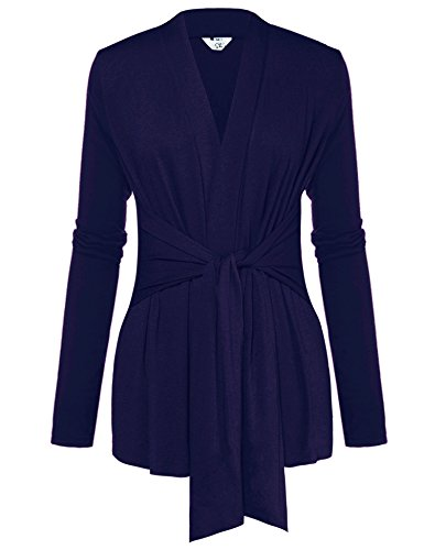 Womens Casual Long Sleeve Open Front Drape Wrap Travel Cardigan Sweater Deep Blue (Belted Cardigan Sweater)
