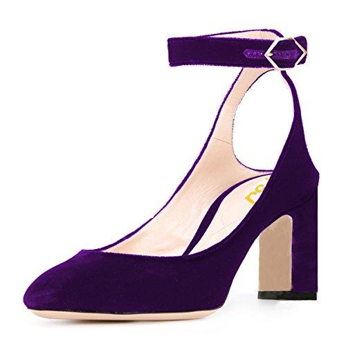 COSTA Viola e Nero Taglia 4 Sandali Cinturino