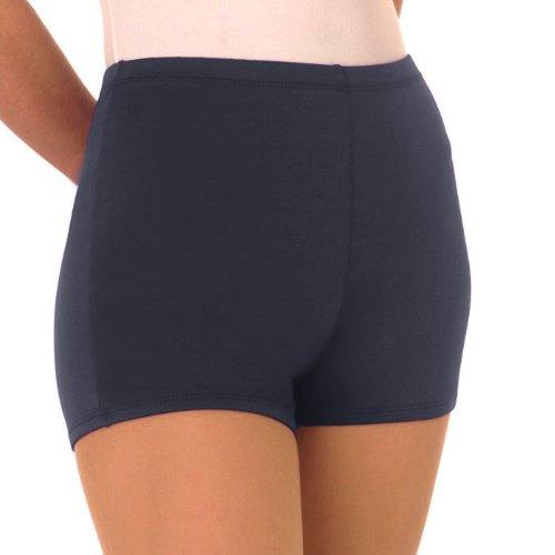 Nylon Cheerleading Briefs - 100 % Stretch Nylon Boy-Cut Brief Trunks, YM, Navy Blue