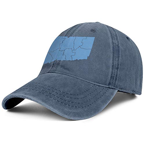 LHSMNCZIRW State Map of Connecticut by Counties Denim Baseball Hat Unisex Men