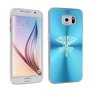 Samsung Galaxy S6 Aluminum Plated Hard Back Case Cover NP Nurse Practitioner Caduceus (Light Blue)