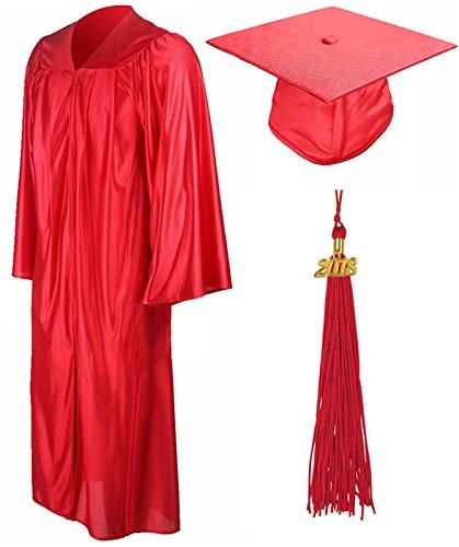 GraduationMall Shiny Graduation Gown Cap Tassel Set 2018 for High School Red 45(5'0″-5'2″)