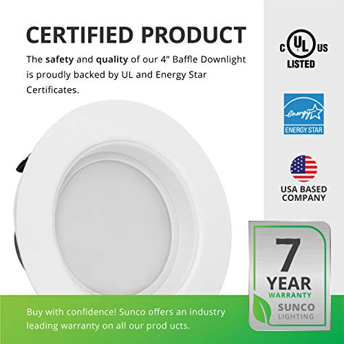 Sunco Lighting 10 Pack 4 Inch Baffle Recessed Retrofit Kit Dimmable LED Light, 11W (40W Replacement), 5000K Kelvin Daylight, Quick/Easy Can Install, 660 Lumen, Wet Rated by Sunco Lighting (Image #7)
