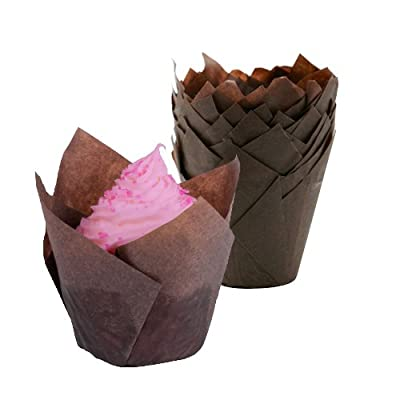 Tulip Cupcake Liners Baking Cups - 100Pcs, (Brown) – Fluted Style Standard Size Bake Cup Fits Jumbo Muffin Pans – No Mess, Toxin Free - Best for Large Cupcakes (Size 2-3/4 x 4 )