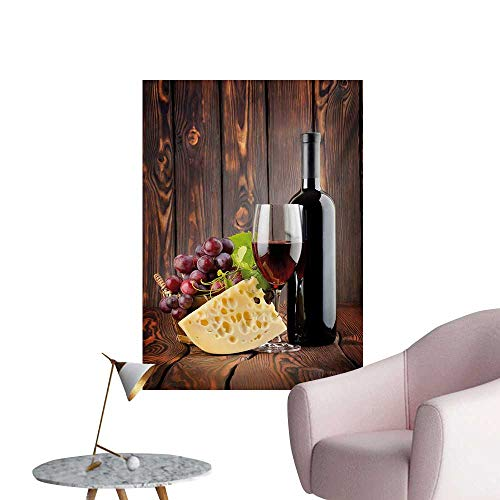Anzhutwelve Wine Wall Sticker Decals Red Wine Cabernet Bottle and Glass Cheese and Grapes on Wood Planks PrintBrown Burgundy Cream W32 xL48 Wall Poster