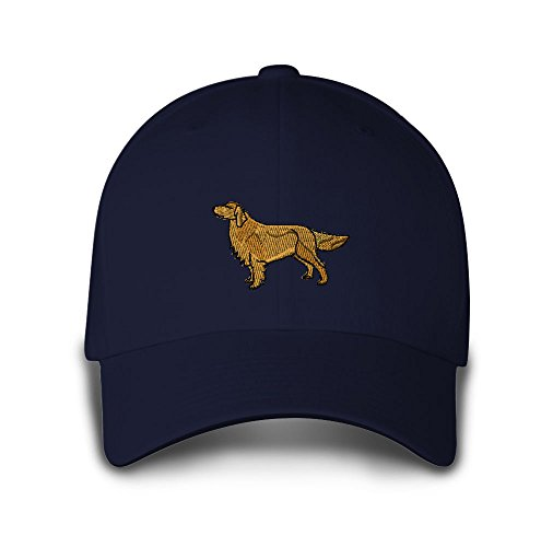 Golden Retriever Embroidery Adjustable Structured Baseball Hat Navy