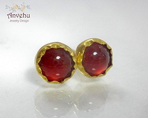 stud earrings 14k 18k earrings Carnelian earrings Round stud Solid gold stud earrings Handmade solid gold post (18k Carnelian Ring)