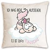 """Nici 41252.0 - Einhorn Theodor Kissen""""Ich Mag nicht"""" Baumwolle bedruckt, 37x37cm"""