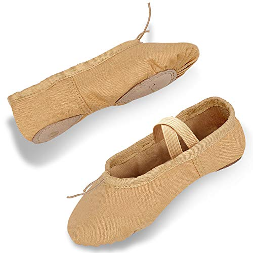 DIPUG Ballet Shoes for Girls/Women - Professional Canvas Ballet Slippers Dance Shoes for Toddler Girls, Adult and Child (3 Little Kid, Light Tan) (Best Shoes For Children's Feet)