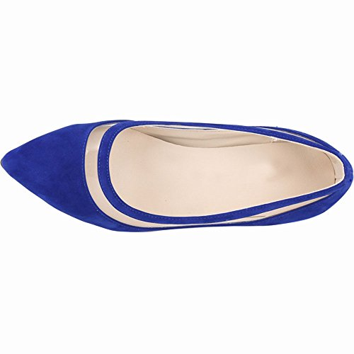 Fersen Königsblau Schuhe Frauen Oberen Kleid Kätzchen Mitte Niedrige für Schuhe YAOYUE OL Spitz Gericht Pumps Büro Hochzeit Samt TqBwfBInU