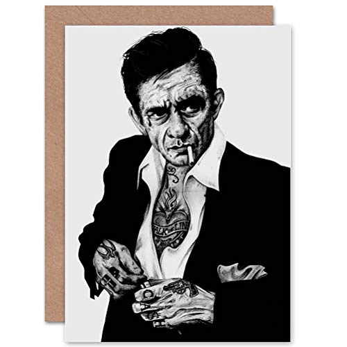 Cash Tattoo Johnny - Wee Blue Coo Greetings Johnny Cash Tattoo Inked Ikon Art by Wayne Maguire Sealed Greeting Card Plus Envelope Blank Inside