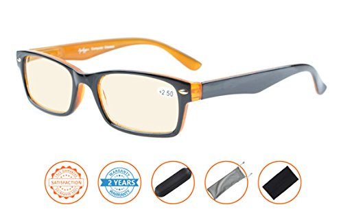Reduce Eyestrain,Anti Blue Rays,UV Protection Computer Reading Glasses(Black-Yellow,Amber Tinted