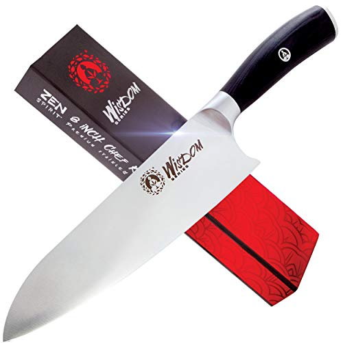 Chef Knife - Professional 8 Inches, High Carbon Stainless Steel, Ultra Sharp and Ergonomic Handle Perfect for Chopping, Slicing, Dicing & Mincing. Wisdom Series Kitchen Knife