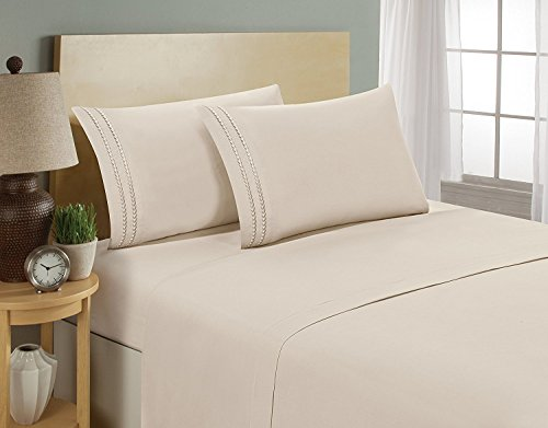 1500 Thread Count Chain Design Egyptian Quality Luxurious Silky Soft Hypoallergenic Wrinkle & Fade Resistant 4 pc Sheet Set, Deep Pocket Up to 16