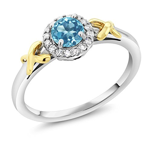 10K Two-Tone Gold 0.55 Ct Round Swiss Blue Topaz XOX Ring with Accent Diamonds (Collection Xox)
