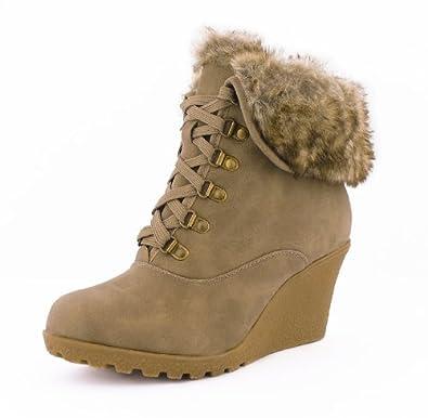 9fac3f04c6bc71 best-boots Damen Boots Fell Stiefel Keilabsatz Stiefelette gefüttert Winter  Khaki 442 Größe 39