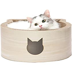 Necoichi Cat-Headed Scratcher Bed (Birch, Regular)