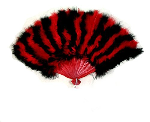 [SACASUSA (TM) Large Red and Black Feather Hand Fan for costume, party, halloween] (Dance Fans Costumes Accessories)