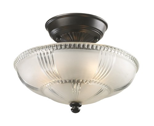 Elk 66335-3 Restoration 3-Light Semi-Flush Mount, 9-Inch, Oiled Bronze, Frosted Glass With Clear Highlights
