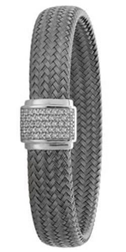 Bracelet Jonc en argent sterling plaqué Ruthénium