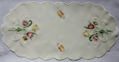 - Spring Floral Linen with Daffodils, Tulips, and Butterflies.