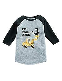 Tstars 3rd Birthday Gift Construction Party 3/4 Sleeve Baseball Jersey Toddler Shirt