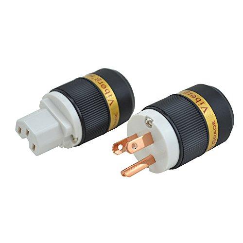 US AC Power Plug Pure Red Copper,15A 250V Audio Grade Power Connector,IEC320 C13 Connector HiFi DIY