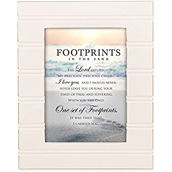 Footprints in the Sand Ivory 8 x 10 Sentimental Framed Art Plaque - Holds 5x7 Photo