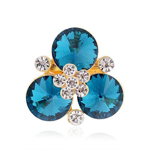 61 Style Women Retro Rhinestone Crystal Flower Wedding Bridal Corsage Brooch Pin (StyleID - #24_ Blue Delicate Flower Dia:.)