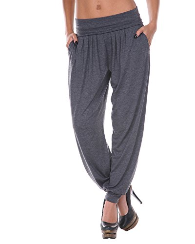 White Mark Women's Bohemian Harem Pants in Charcoal - Large from White Mark